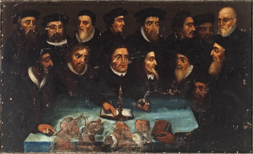 Hans Sager «Lysestaken, (Reformasjonens fedre)», ca. 1700. Foto: Aust-Agder museum og arkiv KUBEN