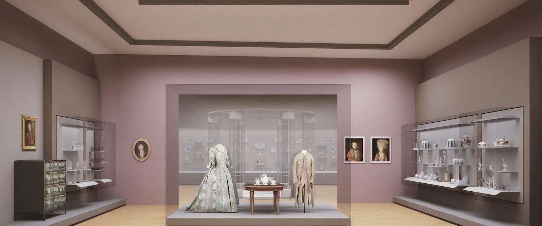 OPPTUR: Rom 9, 1700-1790: viser bl.a. porselen og glass fra en økonomisk oppgangsperiode i Norge. FOTO: GUICCIANDARDINI/MAGNI ARCHITETTI / CONCEPT DESIGN