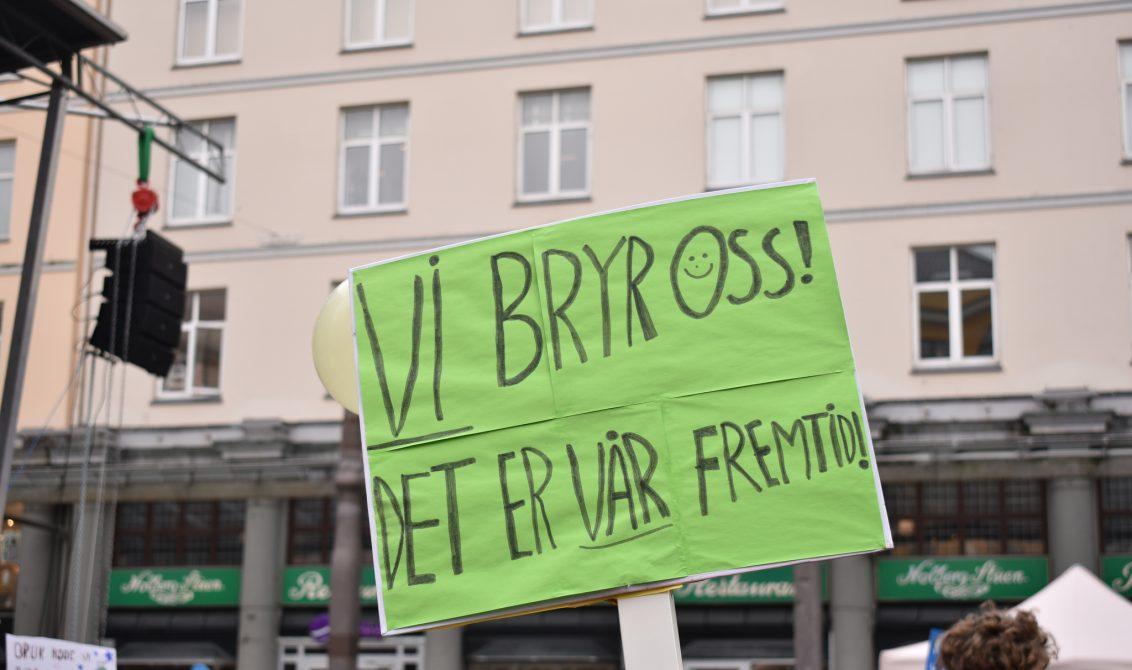 """""""VIBRYROSS! Dette er vår fremtid"""". Parole fraklimastreik 22. mars. Foto: Alva Førsund/ Natur og Ungdom"""