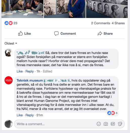 Skjermdump fra Teknisk Museums facebookside i november 2018