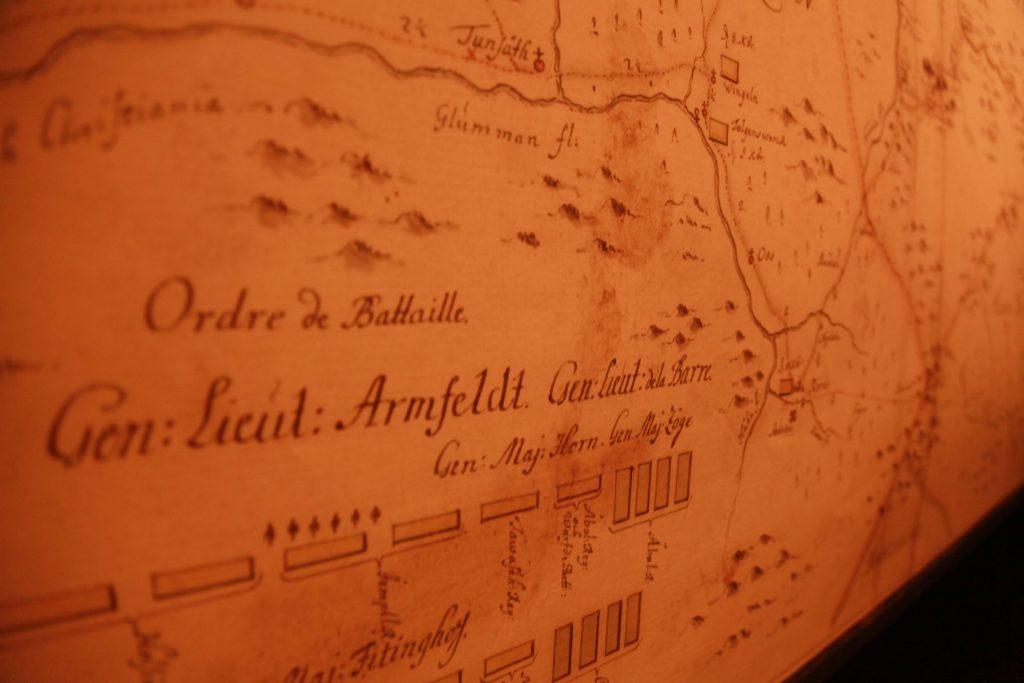 TRØNDELAG: Utdrag fra General Armfeldts kart over Trøndelag. Målet var å innta Trondheim. Det lyktes ikke. 4000 - stort sett sivile - trøndere omkom under beleiring og invasjon.