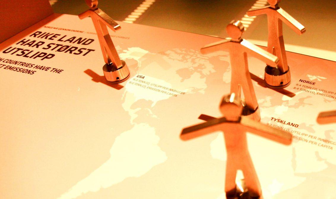 UTSLIPPSTYNGDE:Det beste formidlergrepet i den nye utstillingen: løft på ulike lands Co2-utslipp. (Foto: Per Jynge)