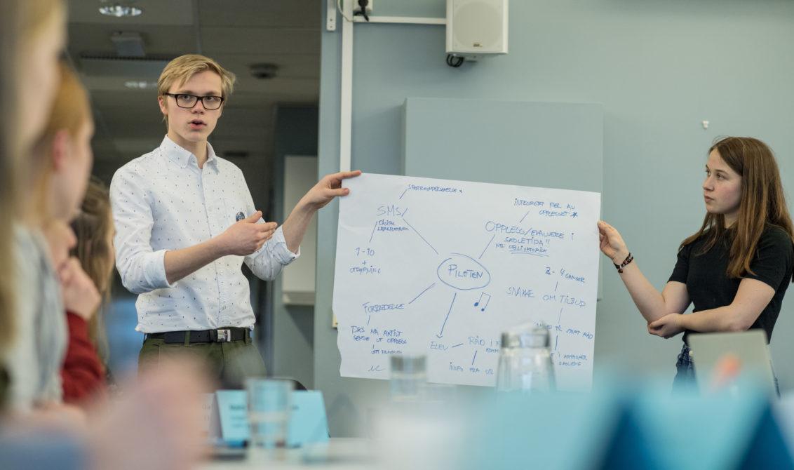 Kulturtankens ungdomsråd 2018,med Gabriel Bruun og Randi Nordihus. Foto: Lars Opstad, Kulturtanken
