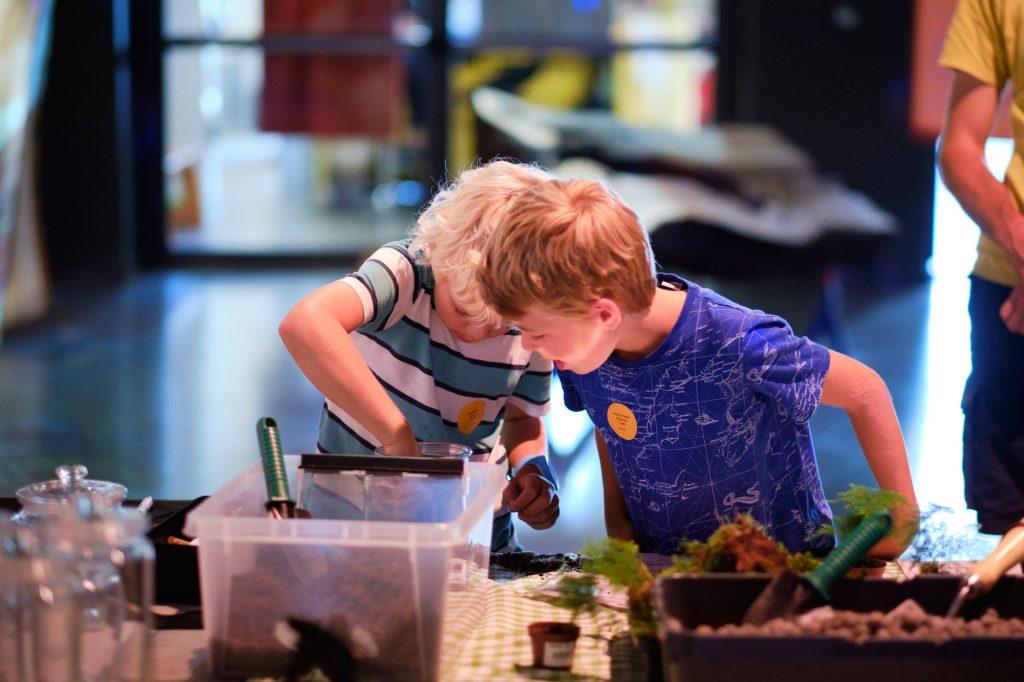 Alle besøkende, uansett alder, fikk lage sitt helt eget planteterrarium.Foto: Johannes Granseth/Nobels Fredssenter