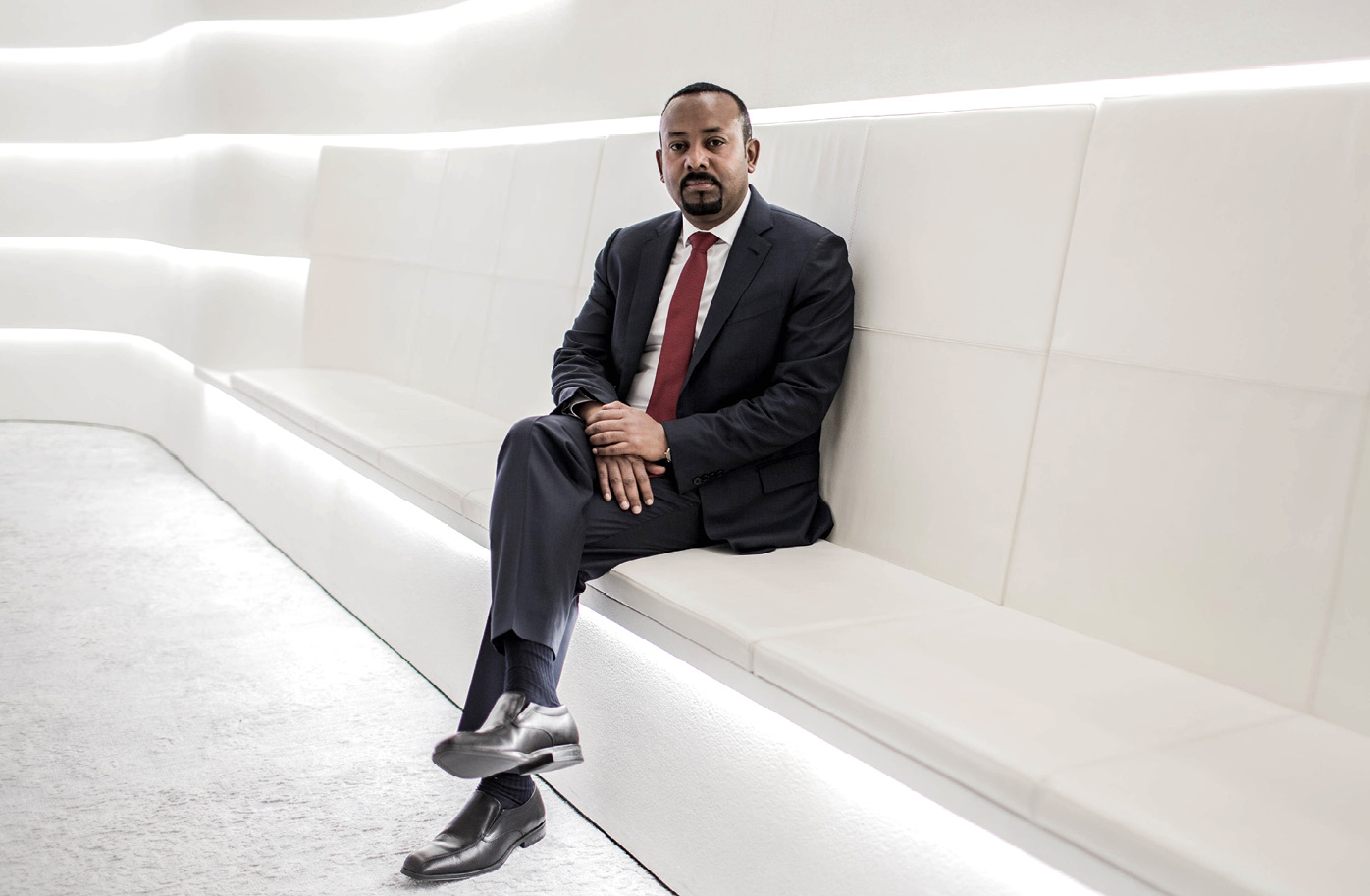 Abiy Ahmed Ali på statsministerens kontor i Addis Abeba. Foto: Finbarr O'Reilly for Nobels Fredssenter