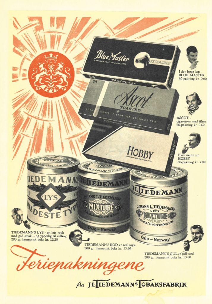 ANDRE TIEDER: En gang i tiden var det både lov og helt stuerent med reklame for tobakksvarer. Markedsføringen fra J.L. Tiedemanns Tobaksfabrikk på 1950-tallet vitner om et syn på tobakksbruk og helse som er fjernt fra det vi er vant til i dag.