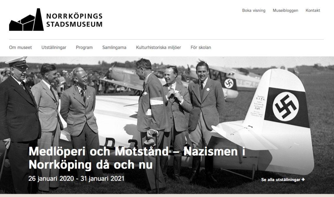 """Skjermbilde fra forsiden til Norrköping stadsmuseum med informasjon om utstillingen """"Medlöperi ich Motstånd"""""""
