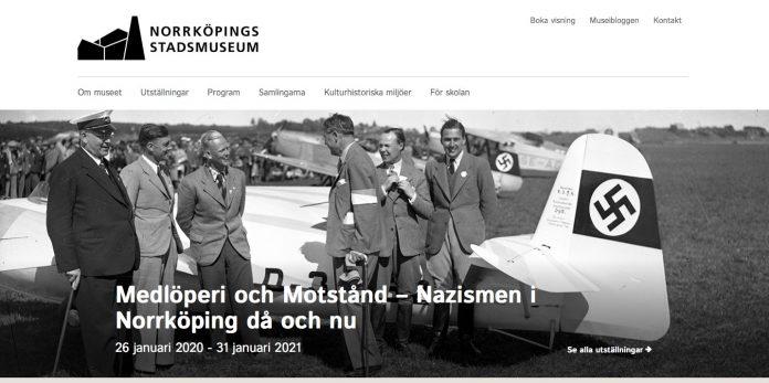 Skjermbilde fra forsiden til Norrköping stadsmuseum med informasjon om utstillingen