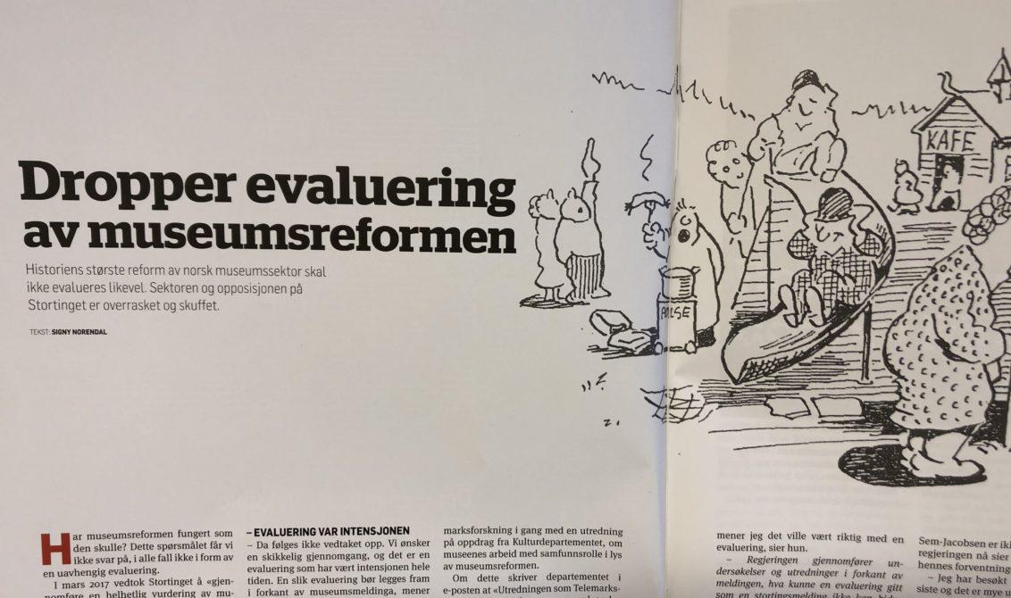"""Foto av oppslag i Museumsnytt nr 4/19, med tittelen """"Dropper evaluering av museumsreformen"""""""