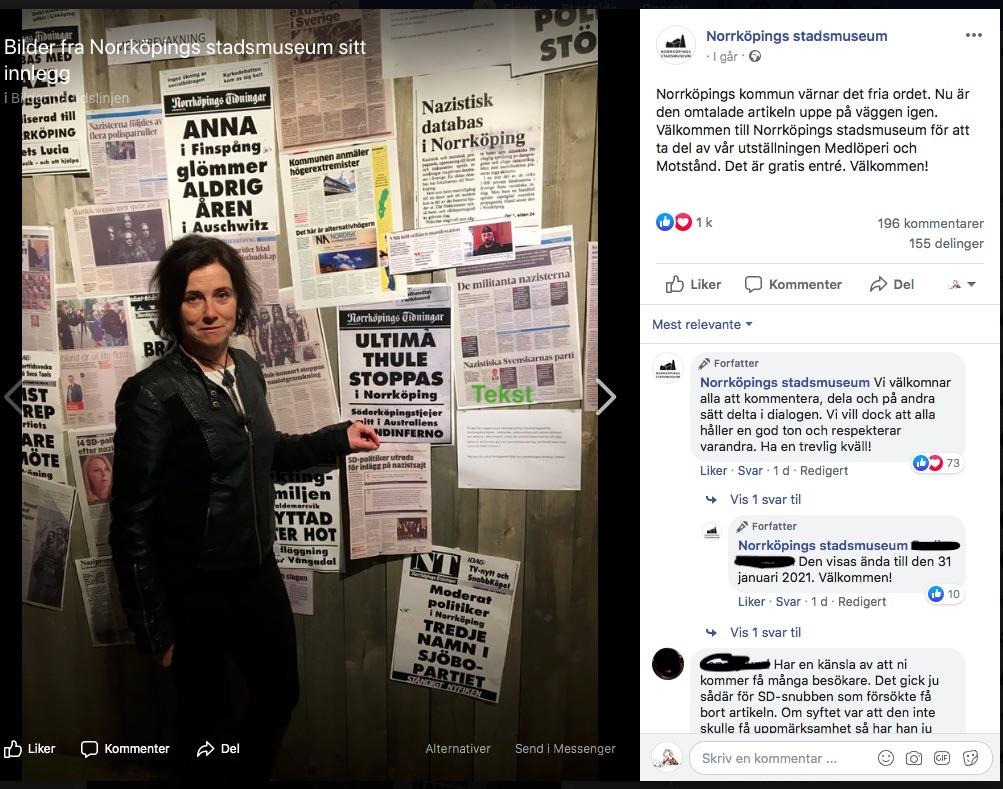 Skjermbilde av museets Facebookpost som viser bilde kuratoren ved veggen hvor bildet er kommet opp igjen .