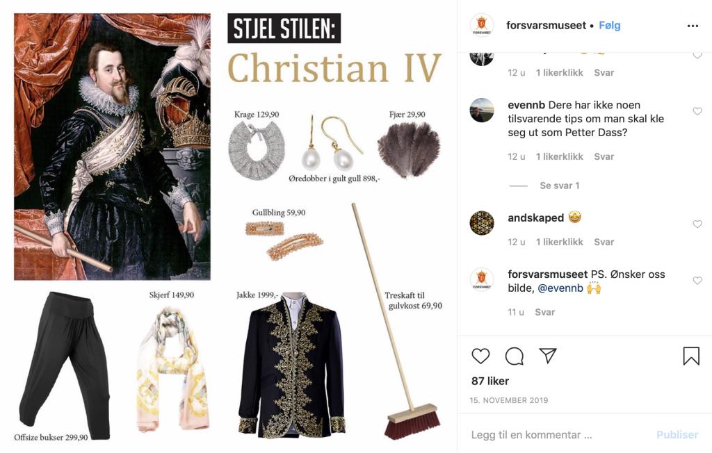 """Instagrampost med teksten """"Stjel stilen"""", måleri av Christian IV og ei rekke klesplagg, smykker og andre gjenstander som kan likne på kleda til Christian IV"""