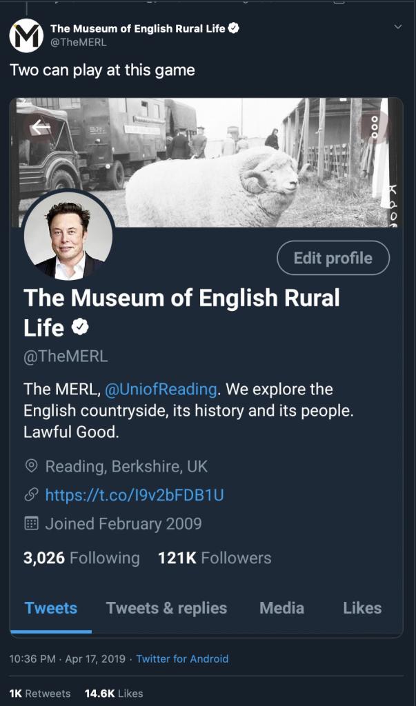 """Skjermbilde fra The MERLs twitterkonto, men med profilbildet til Elon Musk. Teksten i tweeten er """"Two can play at this game"""""""