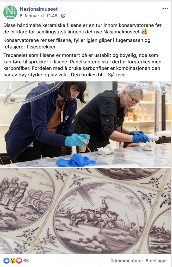 Skjermbilete av facebookpost med foto av to konservatorer som renser keramiske fliser