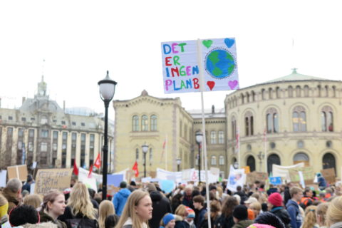 Demonstrerende ungdommer utenfor Stortinget