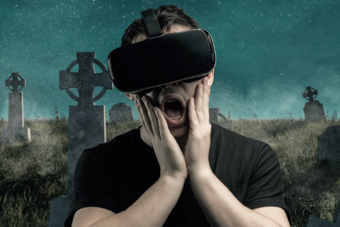 "Person med VR-briller ""inne i"" et spill"
