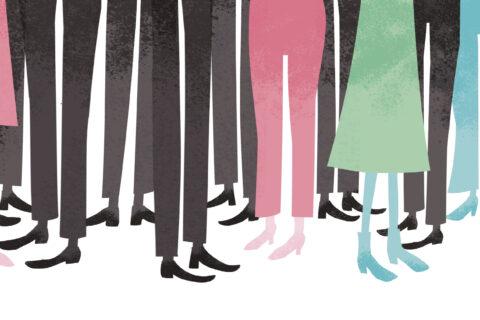Illustrasjon av bein/ føtter. Flest menn, noen kvinner
