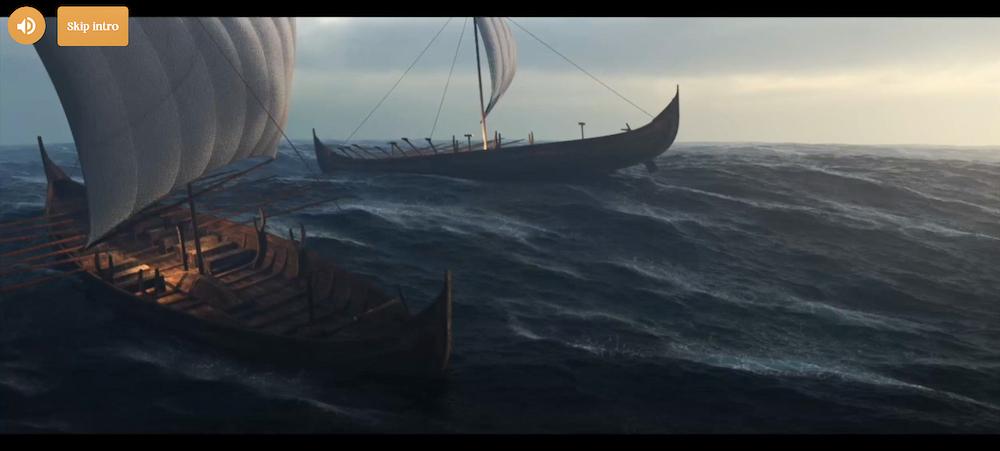 Skjermbilde: skip ute på et urolig hav