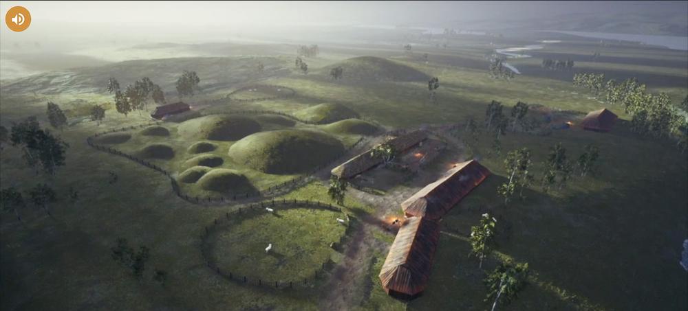 Skjermbilde: oversikt over område med gravhauger og bebyggelse