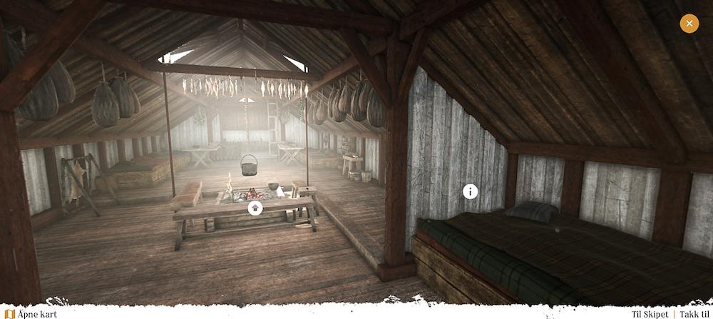 Skjermbilde: inne i et langhus med ildsted