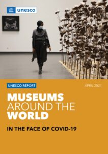 Rapportforside med tekst: Museums around the world in the face of covid 19