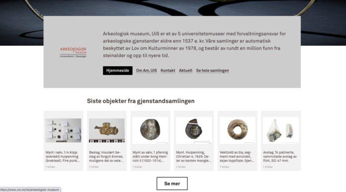Skjermbilde av Arkeologisk Museum i Stavanger sin side på DigitaltMuseum