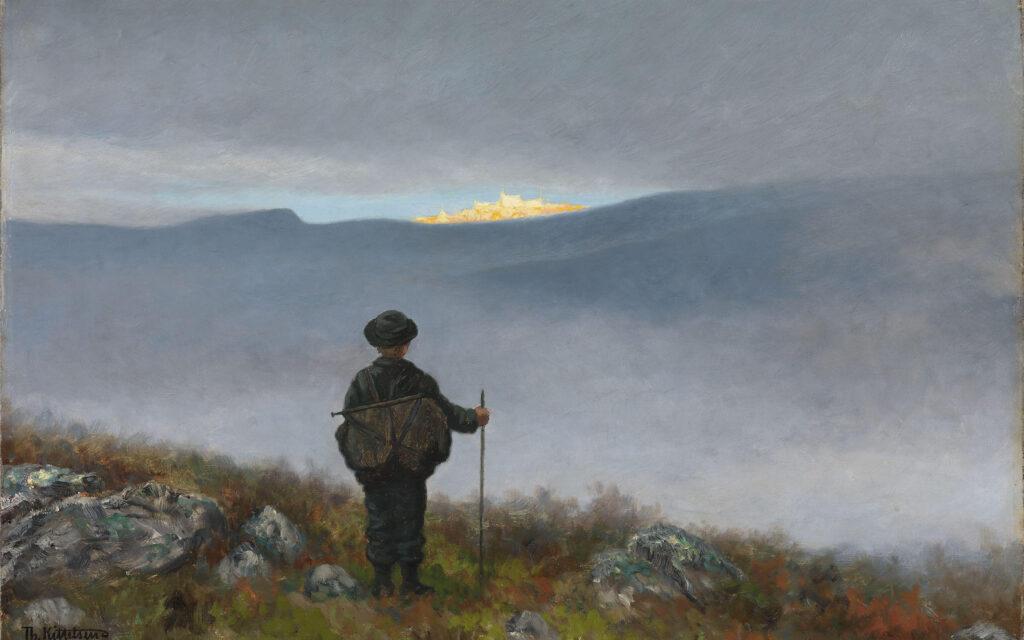 Bilde av Theodor Kittelsens maleri Langt langt borte så han noe lyse og glitre (Soria Moria)