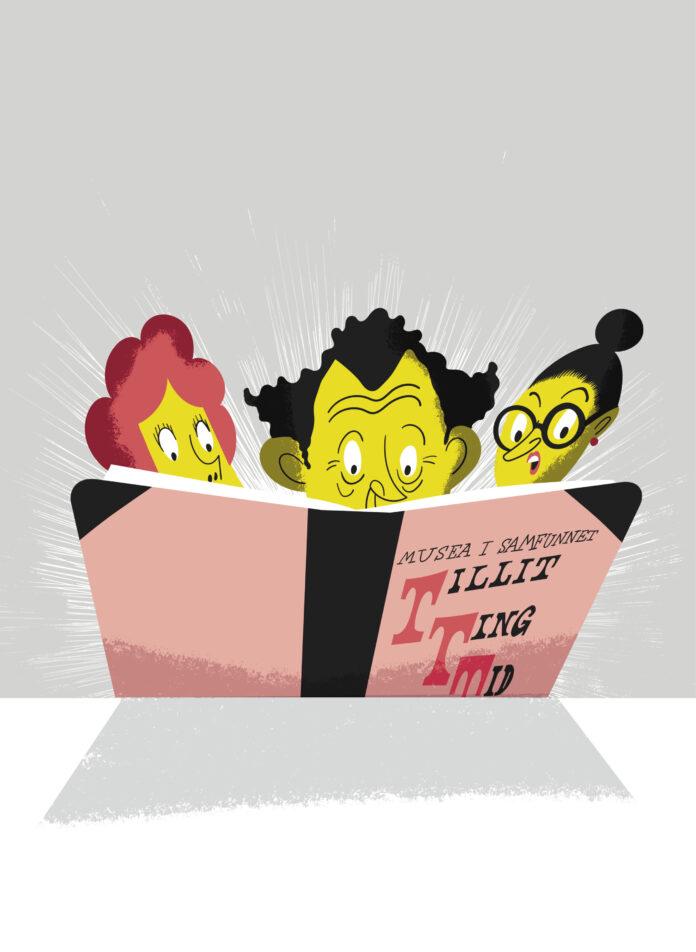 tegning av tre personer som leser i en bok med tittelen Musea i samfunnet: tillit, ting og tid