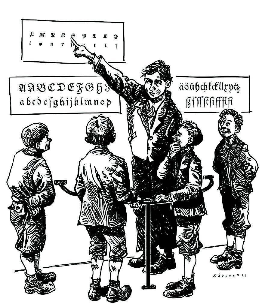 """Tegning av en stor gutt som står inni """"stavebøylen"""" og peker på plansjer med bokstaver på veggen, til fire mindre gutter som står omkring, utenfor bøylen"""